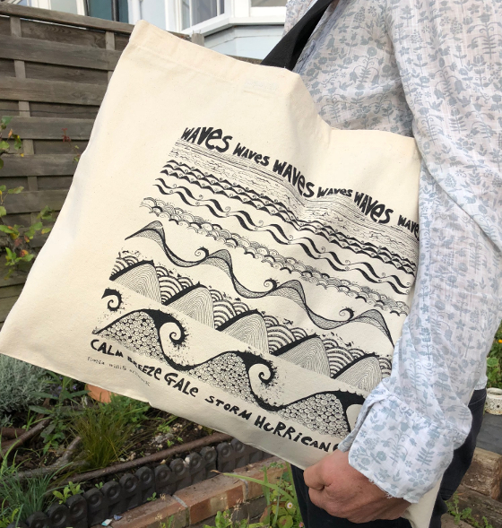 Waves canvas bag (c) Fiona Willis Artwork