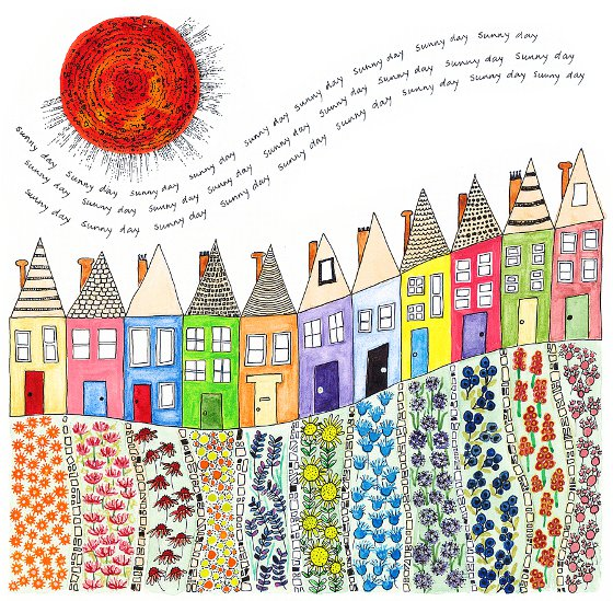 Sunny Day Terrace, a print by Fiona Willis (c)