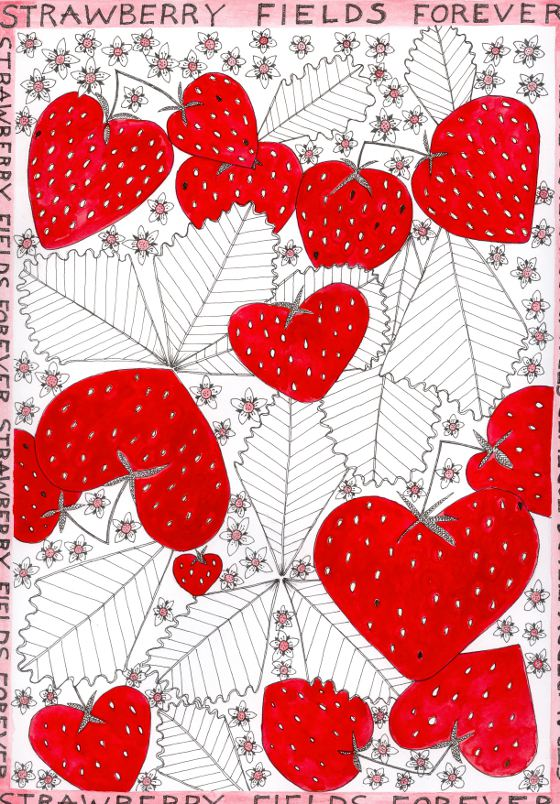 Strawberry Fields Tea Towel (c) Fiona Willis Artwork