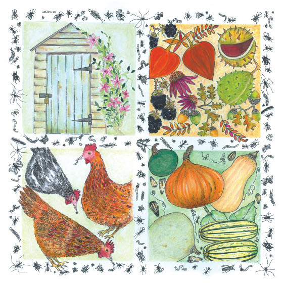 A Year in the Garden - Chickens. A card (c) Fiona Willis