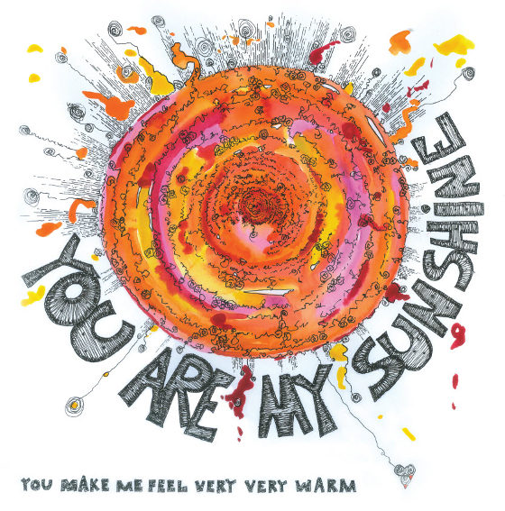 You Are My Sunshine. A card by Fiona Willis Artwork (c) Fiona Willis